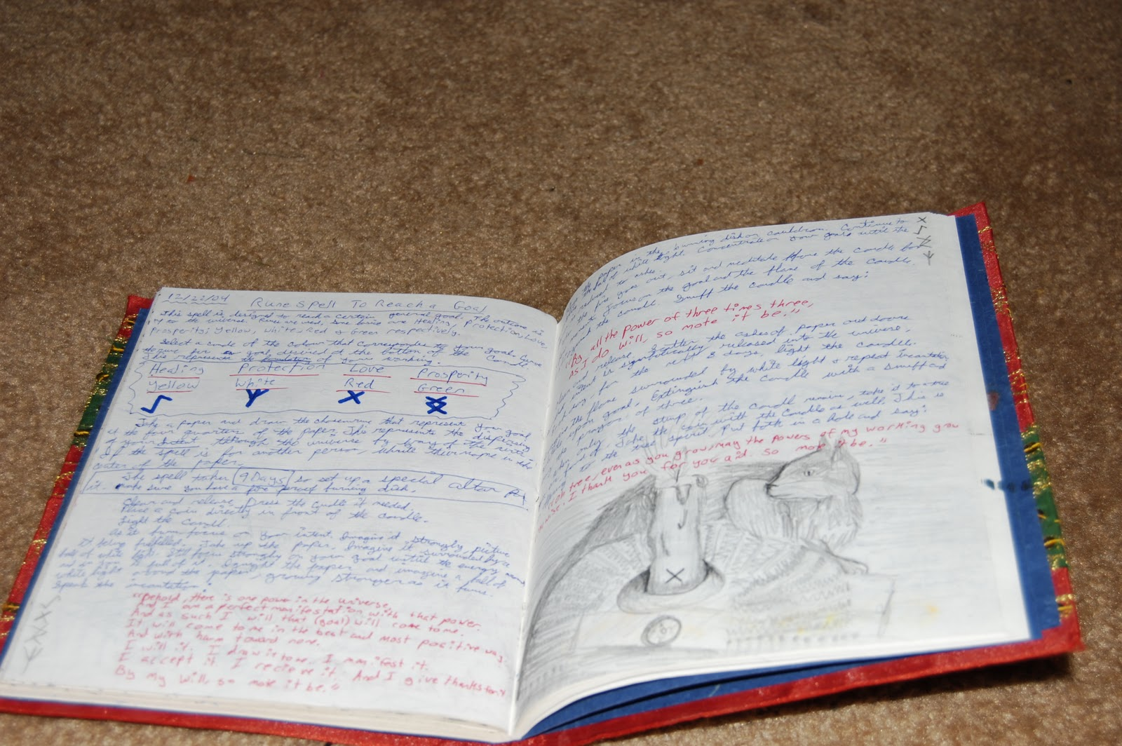 Here's A Couple More Pages In The Red Book Of Shadows I Was Examining Some  Runes On One I Like The Illustration Of A Cat Behind A Candle I Did On The