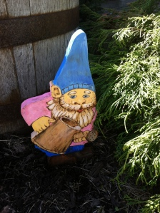 The gnomes are coming out, helping me care for the plants.  Photo by Grey Catsidhe, 2015.