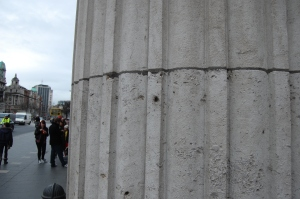 Bullet holes from the Easter Rising at the GPO in Dublin.  Photo by Grey Catsidhe, 2011.