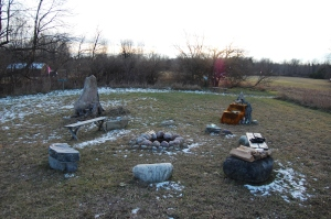 The stone circle at the Kripalu Yoga and Wellness Center, frosted with December snow.  Photo by Weretoad,  2012.