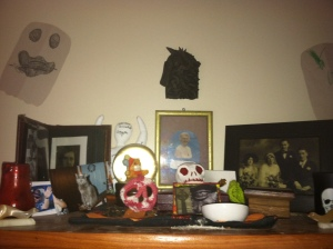 My Ancestor shrine, complete with some Samhain ghosts made by Bee and me. Photo by Grey Catsidhe, 2015.